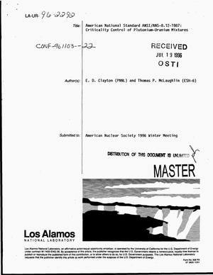Primary view of object titled 'American National Standard ANSI/ANS-8.12-1987: Criticality control of plutonium-uranium mixtures'.