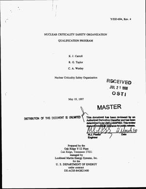 Primary view of object titled 'Nuclear Criticality Safety Organization qualification program. Revision 4'.