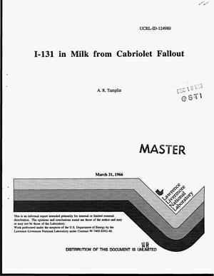 Primary view of object titled 'I-131 in milk from Cabriolet fallout'.
