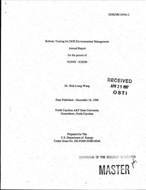 Primary view of object titled 'Robotic tooling for DOE environmental management. Annual report, September 29, 1995--September 28, 1996'.