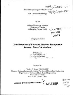 Primary view of object titled 'Considerations of beta and electron transport in internal dose calculations. Final progress report, 1994--1998'.