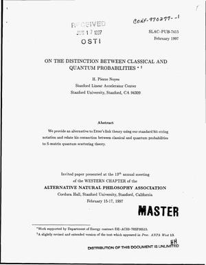 Primary view of object titled 'On the distinction between classical and quantum probabilities'.