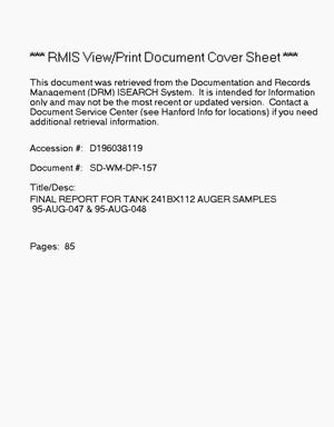 Primary view of object titled 'Final report for tank 241-BX-112, auger samples 95-Aug-047 and 95-Aug-048'.