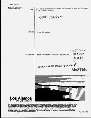 Primary view of object titled 'Low-level radioactive waste management at the Nevada Test Site -- Current status'.