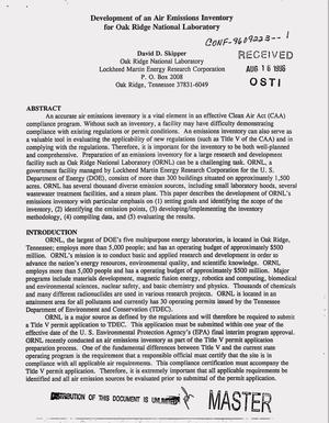 Primary view of object titled 'Development of an air emissions inventory for Oak Ridge National Laboratory'.
