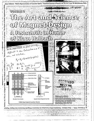 Primary view of object titled 'The art and science of magnet design: A Festschrift in honor of Klaus Halbach. Volume 1'.