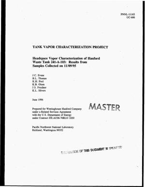 Primary view of object titled 'Headspace vapor characterization of Hanford Waste Tank 241-A-103: Results from samples collected on November 9, 1995. Tank Vapor Characterization Project'.