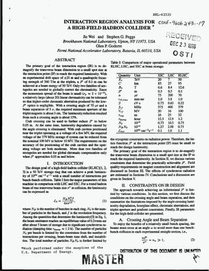 Primary view of object titled 'Interaction region analysis for a high-field hadron collider'.