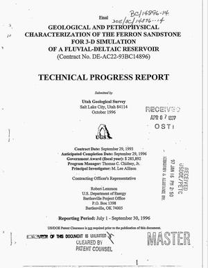 Primary view of object titled 'Geological and petrophysical characterization of the Ferron Sandstone for 3-D simulation of a fluvial-deltaic reservoir. Technical progress report, July 1, 1996--September 30, 1996'.