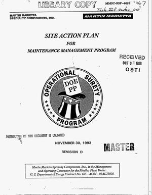Primary view of object titled 'Site action plan for maintenance management program. Revision D'.