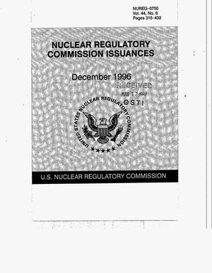 Primary view of object titled 'Nuclear Regulatory Commission Issuances'.