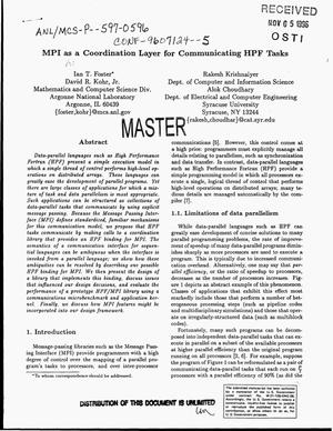Primary view of object titled 'MPI as a coordination layer for communicating HPF tasks'.