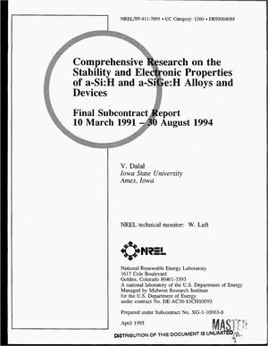 Primary view of object titled 'Comprehensive research on the stability and electronic properties of a-Si:H and a-SiGe:H alloys and devices. Final subcontract report, 10 March 1991--30 August 1994'.