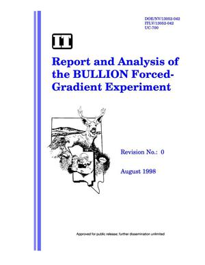 Primary view of object titled 'Report and analysis of the BULLION forced-gradient experiment'.