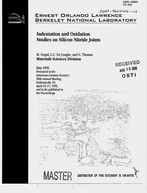 Primary view of object titled 'Indentation and oxidation studies on silicon nitride joints'.