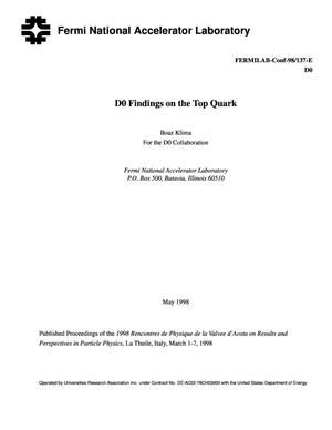 Primary view of object titled 'D0 findings on the top quark'.