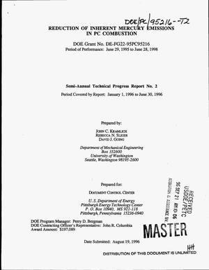 Primary view of object titled 'Reduction of inherent mercury emissions in PC combustion. Semi-annual technical progress report No. 2, January 1, 1996--June 30, 1996'.