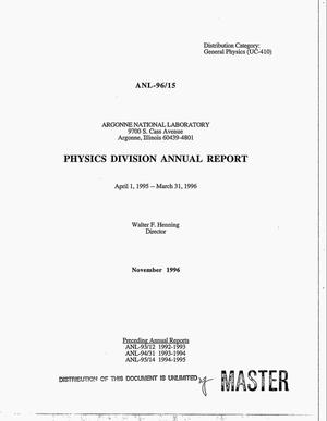 Primary view of object titled 'Physics Division annual report, April 1, 1995--March 31, 1996'.
