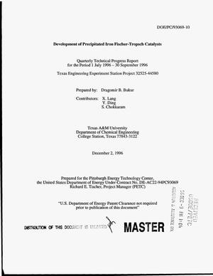 Primary view of object titled 'Development of precipitated iron Fischer-Tropsch catalysts. Quarterly technical progress report for the period July 1, 1996--September 30, 1996'.