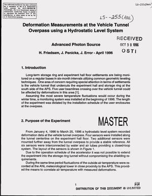 Primary view of object titled 'Deformation measurements at the vehicle tunnel overpass using a hydrostatic level system'.