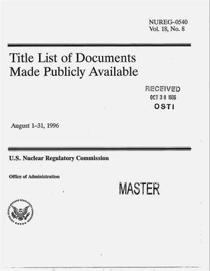 Primary view of object titled 'Title of documents made publicly available, August 1--31, 1996'.