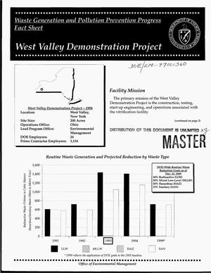 Primary view of object titled 'Waste generation and pollution prevention progress fact sheet: West Valley Demonstration Project'.