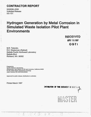 Primary view of object titled 'Hydrogen generation by metal corrosion in simulated Waste Isolation Pilot Plant environments. Final report'.