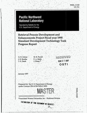 Primary view of object titled 'Retrieval process development and enhancements project Fiscal year 1995: Simulant development technology task progress report'.