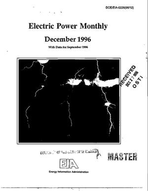 Primary view of object titled 'Electric power monthly, December 1996 with data for September 1996'.
