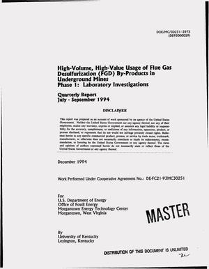 Primary view of object titled 'High-volume, high-value usage of Flue Gas Desulfurization (FGD) by-products in underground mines Phase 1: Laboratory investigations. Quarterly report, July 1994--September 1994'.