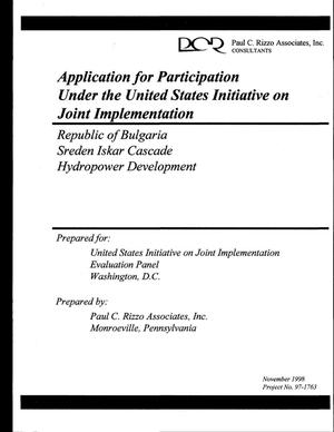 Primary view of object titled 'Republic of Bulgaria Sreden Iskar Cascade hydropower development. Application for participation under the United States Initiative on Joint Implementation'.