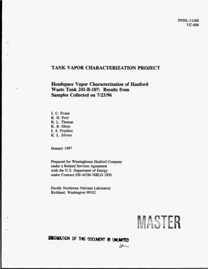 Primary view of object titled 'Headspace vapor characterization of Hanford waste tank 241-B-107: Results from samples collected on 7/23/96'.