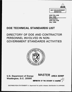 Primary view of object titled 'DOE technical standards list: Directory of DOE and contractor personnel involved in non-government standards activities'.