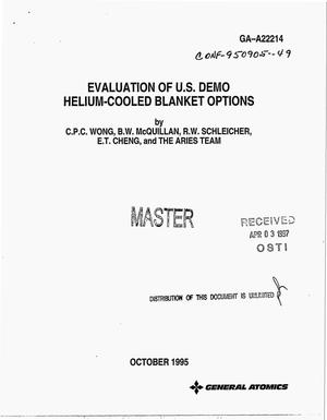 Primary view of object titled 'Evaluation of US demo helium-cooled blanket options'.