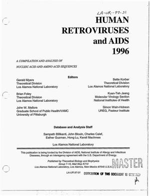 Primary view of object titled 'Human retroviruses and AIDS 1996. A compilation and analysis of nucleic acid and amino acid sequences'.