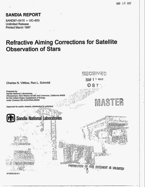 Primary view of object titled 'Refractive aiming corrections for satellite observation of stars'.