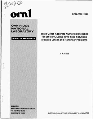 Primary view of object titled 'Third-order-accurate numerical methods for efficient, large time-step solutions of mixed linear and nonlinear problems'.