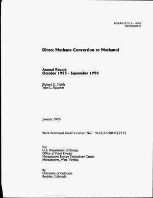 Primary view of object titled 'Direct methane conversion to methanol. Annual report, October 1993--September 1994'.