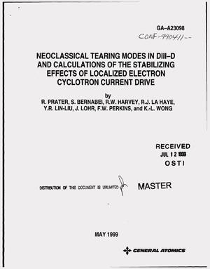 Primary view of object titled 'Neoclassical tearing modes in DIII-D and calculations of the stabilizing effects of localized electron cyclotron current drive'.