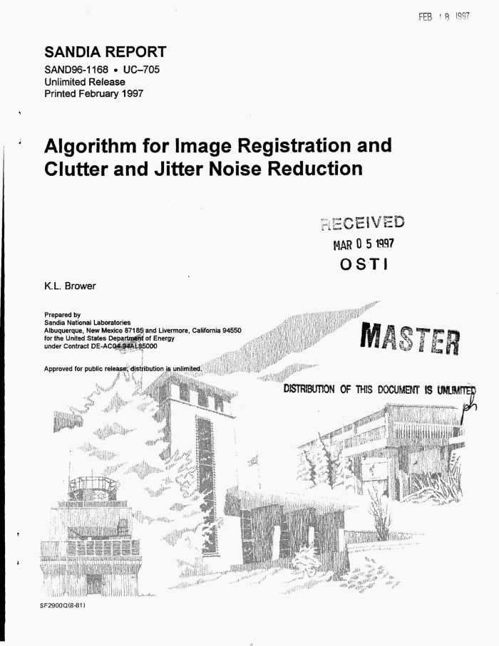 Algorithm for image registration and clutter and jitter noise
