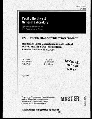 Primary view of object titled 'Headspace vapor characterization of Hanford Waste Tank 241-S-102: Results from samples collected on January 26, 1996. Tank Vapor Characterization Project'.