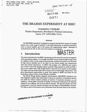 Primary view of object titled 'The BRAHMS experiment at RHIC'.