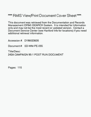 Primary view of object titled '242-A campaign 95-1 post run document'.