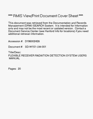 Primary view of object titled 'Flexible Receiver Radiation Detection System (FRRDS) Users Manual'.