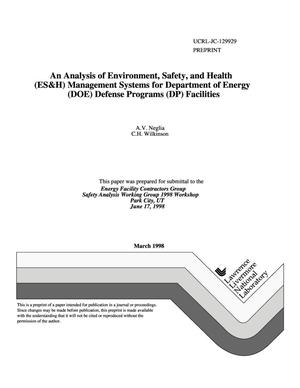 Primary view of object titled 'Analysis of environment, safety, and health (ES{ampersand}H) management systems for Department of Energy (DOE) Defense Programs (DP) facilities'.