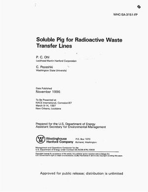Primary view of object titled 'Soluble pig for radioactive waste transfer lines'.