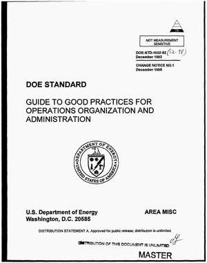 Primary view of object titled 'Guide to good practices for operations organization and administration'.