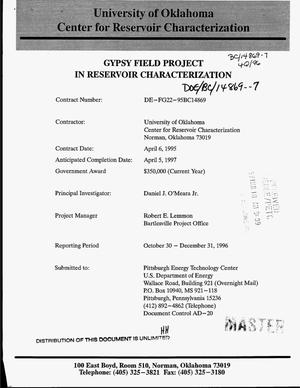 Primary view of object titled 'Gypsy Field project in reservoir characterization. Quarterly report, October 30--December 31, 1996'.