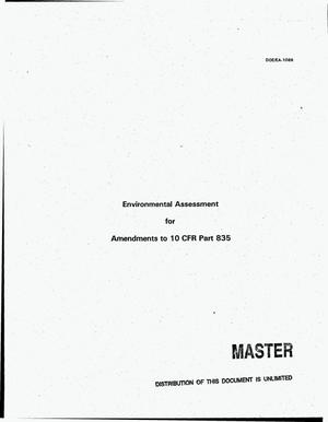 Primary view of object titled 'Environmental assessment for amendments to 10 CFR Part 835'.