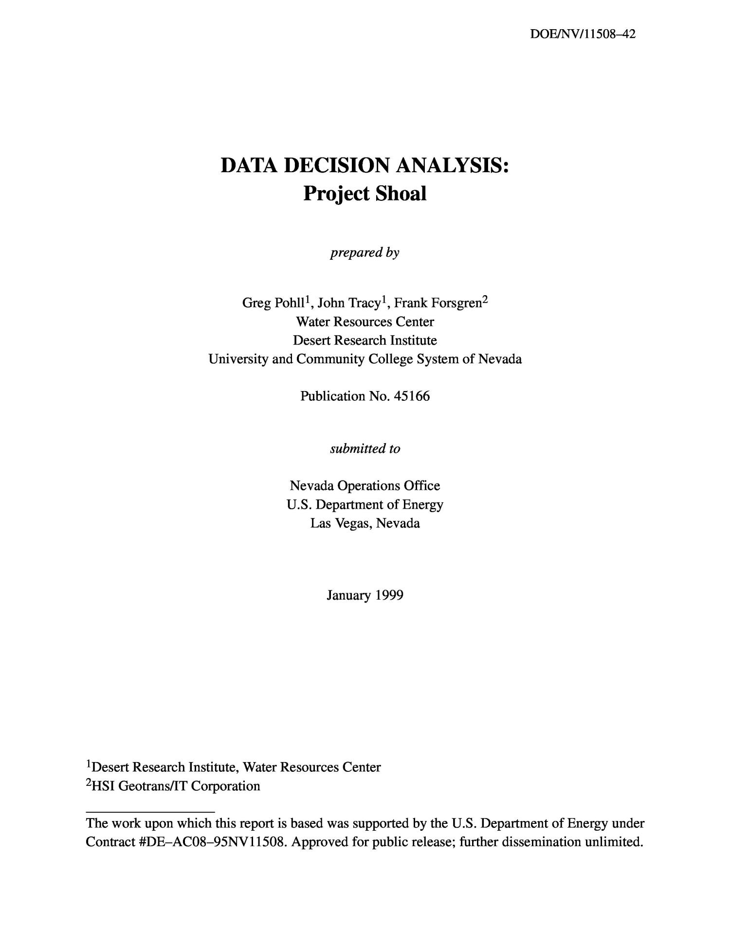 Data Decision Analysis: Project Shoal                                                                                                      [Sequence #]: 3 of 74